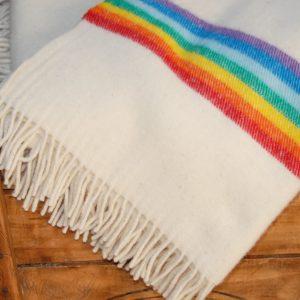 Manta de lana Arcoíris beig