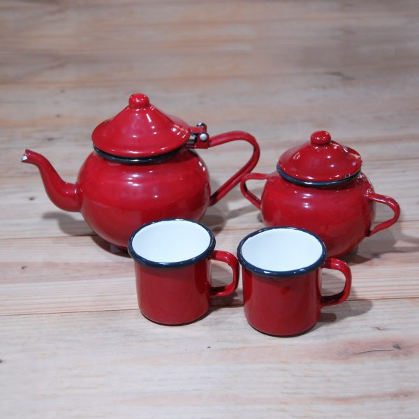 Juego de té peltre rojo