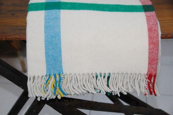 Manta de rayas beig 100% lana