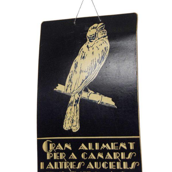 Antiguo cartel alimento para canarios