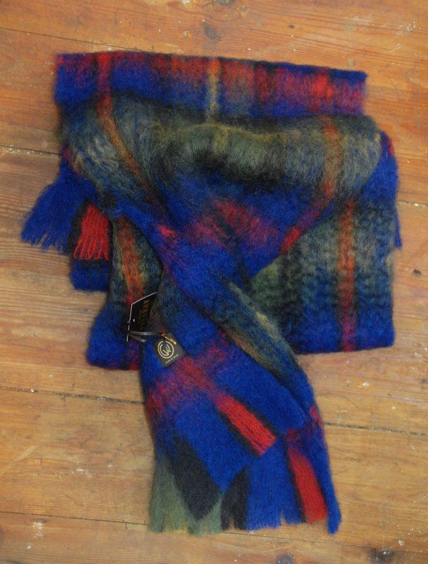 Bufanda mohair tartán azul
