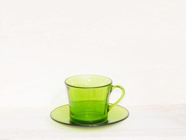 Taza y plato de cortado Duralex verde